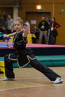Aleksandra Eliseeva performs her routine during the 3rd International Chan Wu, Traditional Kung Fu and Wu Shu Championships in Budapest, Hungary on November 24, 2012. ATTILA VOLGYI