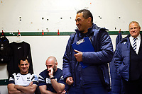 Bristol Bears Head Coach Pat Lam speaks to his players after the match in the changing rooms. Gallagher Premiership match, between Leicester Tigers and Bristol Bears on April 27, 2019 at Welford Road in Leicester, England. Photo by: Patrick Khachfe / JMP