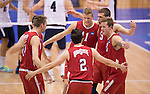 07 MAY: Ohio State University teammates celebrate after a winning point against Brigham Young University during the Division I Men's Volleyball Championship held at Rec Hall on the Penn State University campus in University Park, PA. Ohio State defeated BYU 3-1 for the national title. Ben Solomon/NCAA Photos