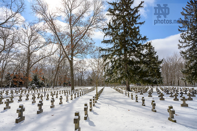 February 13, 2020; Congregation of Holy Cross cemetery on a winter morning.  (Photo by Barbara Johnston/University of Notre Dame)