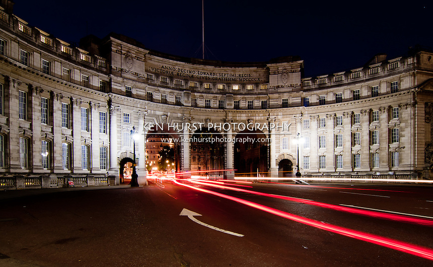 Night view with light trails of the Admiralty Arch located at The Mall near Buckingham Palace in London, England.