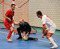 20200201 Herentals , BELGIUM :  Belgium's goal keeper Pietro Benetti (12) has the ball Montenegro's Ilija Mugosa has kicked, with Rafael Bruno Teixeira (15) during a futsal indoor soccer game between the Belgian Futsal Devils of Belgium and Montenegro on the third and last matchday in group B of the UEFA Futsal Euro 2022 Qualifying or preliminary round , Saturday 1st February 2020 at the Sport Vlaanderen sports hall in Herentals , Belgium . PHOTO SPORTPIX.BE | Sevil Oktem