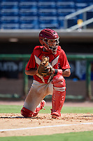 Philadelphia Phillies catcher Freddy Francisco (6) during a Florida Instructional League game against the Toronto Blue Jays on September 24, 2018 at Spectrum Field in Clearwater, Florida.  (Mike Janes/Four Seam Images)