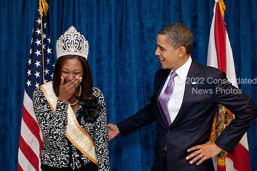 United States President Barack Obama greets Miss Florida Memorial University Morisa V. Jagrup at Miami Central High School in Miami, Florida, March 4, 2011. .Mandatory Credit: Pete Souza - White House via CNP