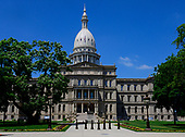 Exterior of the Michigan State Capitol, which opened on January 1, 1879 in Lansing, Michigan on Saturday, June 29, 2018. It was designed by architect Elijah E. Myers, and is one of the first state capitols to be topped by a lofty cast iron dome, that was modeled on the dome of the United States Capitol in Washington, DC. <br /> Credit: Ron Sachs / CNP
