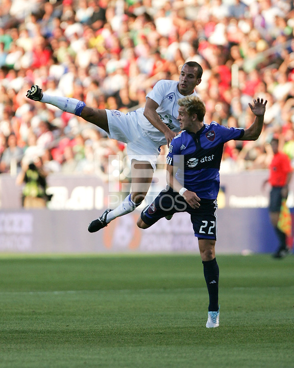 Everton FC Midfielder Leon Osman and MLS All Star Stuart Holden in the Everton FC win over Major League Soccer All Stars, July 29, 2009 at Rio Tinto Stadium in Sandy, Utah.