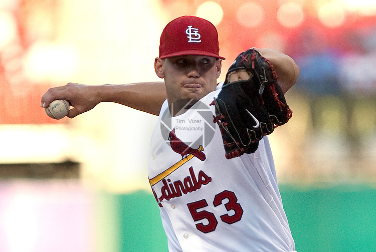 July 1, 2010        St. Louis Cardinals starting pitcher Blake Hawksworth (53) throws early in the game.  The Milwaukee Brewers defeated the St. Louis Cardinals 4-1 in the first game of a four-game homestand at Busch Stadium in downtown St. Louis, MO on Thursday July 1, 2010.