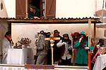 "People participate at the carnival of Ituren on January 30th, 2006, Basque Country. A group of ""Joaldun"" march carrying sheep furs and big cowbells on their backs on January 30th, 2006 at the village of Ituren, Basque Country. Joaldun groups perform an ancient traditional carnival at the villages of Ituren and Zubieta making sound their cowbells in order to wake up the earth, to ask for a good new year, a good harvest and also to keep away the bad spirits. (Ander Gillenea / Bostok Photo)"