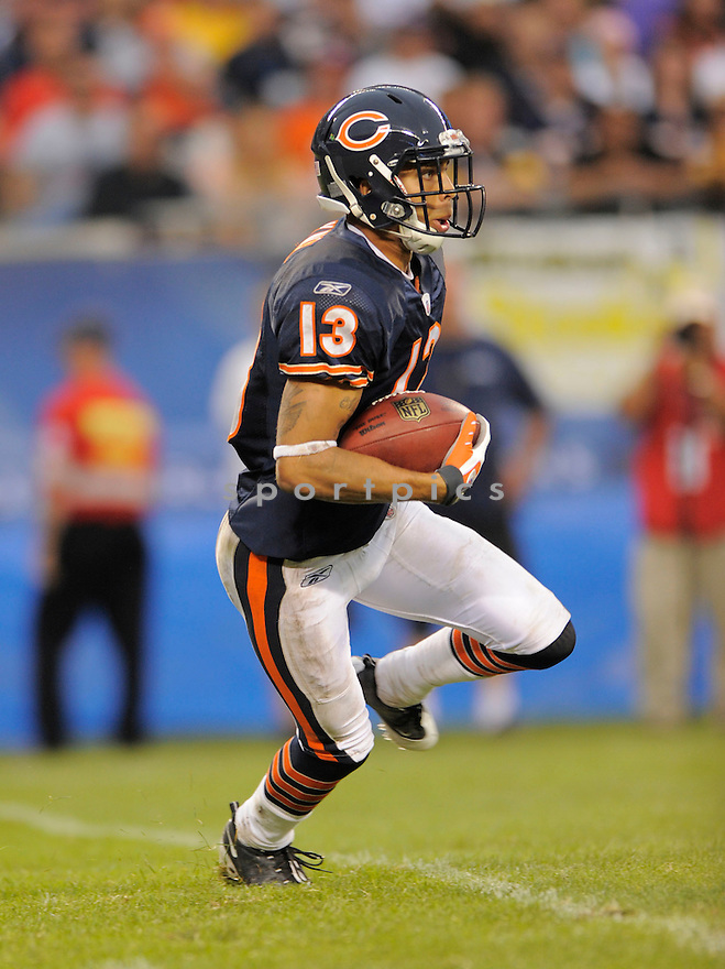 JOHNNY KNOX,of the Chicago Bears, during the Bears game against the Pittsburgh Steelers  on September 20, 2009 in Chicago, IL  The Bears beat the Steelers 17-14.
