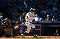 Jared McKenzie (18) of the Baylor Bears follows through on his swing against the Missouri Tigers in game one of the 2020 Shriners Hospitals for Children College Classic at Minute Maid Park on February 28, 2020 in Houston, Texas. The Bears defeated the Tigers 4-2. (Brian Westerholt/Four Seam Images)