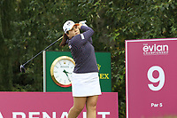 Inbee Park (KOR) tees off the 9th tee during Thursday's Round 1 of The Evian Championship 2018, held at the Evian Resort Golf Club, Evian-les-Bains, France. 13th September 2018.<br /> Picture: Eoin Clarke | Golffile<br /> <br /> <br /> All photos usage must carry mandatory copyright credit (© Golffile | Eoin Clarke)
