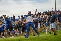 Sergio Garcia (Team Europe) starts celebrating as he heads down 17 during Sunday's singles of the 2018 Ryder Cup, Le Golf National, Guyancourt, France. 9/30/2018.<br /> Picture: Golffile | Ken Murray<br /> <br /> <br /> All photo usage must carry mandatory copyright credit (© Golffile | Ken Murray)