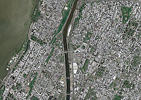 aerial photo map Manhattan and Bronx, New York City