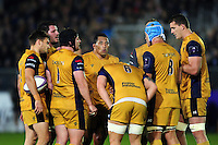 The Bristol Rugby team huddle together during a break in play. European Rugby Challenge Cup match, between Bath Rugby and Bristol Rugby on October 20, 2016 at the Recreation Ground in Bath, England. Photo by: Patrick Khachfe / Onside Images