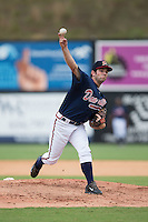 Danville Braves relief pitcher Cameron Stanton (32) delivers a pitch to the plate against the Pulaski Yankees at American Legion Post 325 Field on July 31, 2016 in Danville, Virginia.  The Yankees defeated the Braves 8-3.  (Brian Westerholt/Four Seam Images)