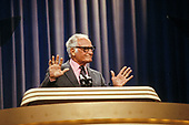 United States Senator Barry M. Goldwater (Republican of Arizona), the 1964 Republican Party nominee for President of the United States, makes remarks at the 1984 Republican National Convention in the Dallas Convention Center in Dallas, Texas on Wednesday, August 22, 1984.<br /> Credit: Howard L. Sachs / CNP