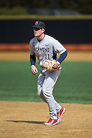 Doug Kraeger (11) of the Richmond Spiders during infield practice prior to the game against the Wake Forest Demon Deacons at David F. Couch Ballpark on March 6, 2016 in Winston-Salem, North Carolina.  The Demon Deacons defeated the Spiders 17-4.  (Brian Westerholt/Four Seam Images)