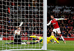 Arsenal's Theo Walcott scoring his sides second goal during the Europa League Group H match at The Emirates Stadium, London. Picture date: December 7th 2017. Picture credit should read: David Klein/Sportimage
