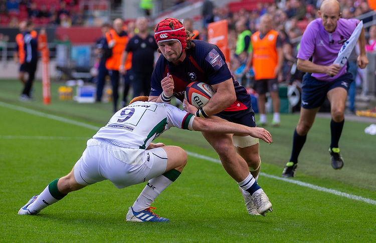 Bristol Bears' Harry Thacker in action during todays match<br /> <br /> Photographer Bob Bradford/CameraSport<br /> <br /> Premiership Rugby Cup Round Three - Bristol Bears v London Irish - Sunday 6th October 2019 - Ashton Gate - Bristol<br /> <br /> World Copyright © 2018 CameraSport. All rights reserved. 43 Linden Ave. Countesthorpe. Leicester. England. LE8 5PG - Tel: +44 (0) 116 277 4147 - admin@camerasport.com - www.camerasport.com