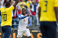 Seattle, WA - Thursday, June 16, 2016: United States forward Gyasi Zardes (9)celebrates his goal during the Quarterfinal of the 2016 Copa America Centenrio at CenturyLink Field.