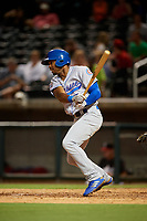 Tennessee Smokies center fielder Wynton Bernard (7) hits a single during a game against the Birmingham Barons on August 16, 2018 at Regions FIeld in Birmingham, Alabama.  Tennessee defeated Birmingham 11-1.  (Mike Janes/Four Seam Images)