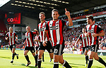 Billy Sharp of Sheffield Utd celebrates his second goal, Utd's third during the Championship match at Bramall Lane, Sheffield. Picture date 26th August 2017. Picture credit should read: Simon Bellis/Sportimage