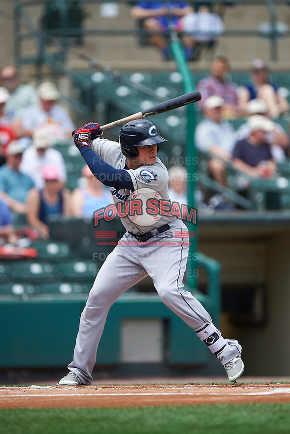 Columbus Clippers designated hitter Giovanny Urshela (23) at bat during a game against the Rochester Red Wings on June 16, 2016 at Frontier Field in Rochester, New York.  Rochester defeated Columbus 6-2.  (Mike Janes/Four Seam Images)