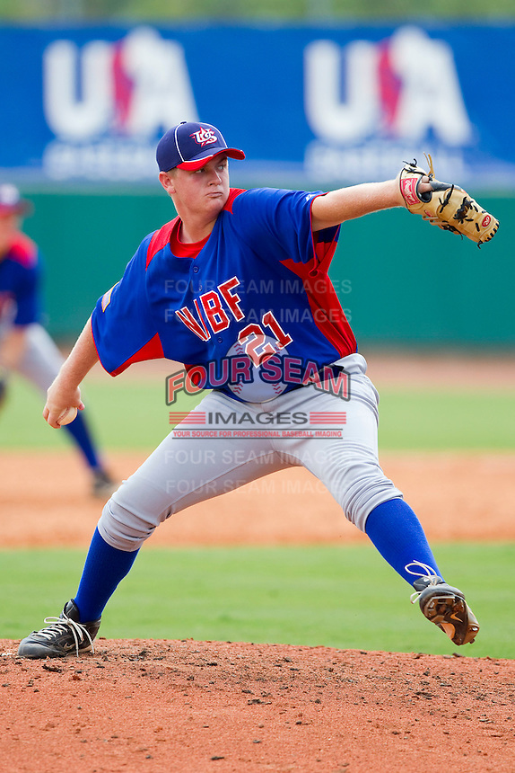 Jarred Greene #21 of NABF in action against the STARS at the 2011 Tournament of Stars at the USA Baseball National Training Center on June 25, 2011 in Cary, North Carolina.  The Stars defeated NABF 7-1.  (Brian Westerholt/Four Seam Images)