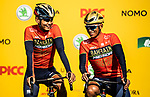 Bahrain-Merida team mates at the team presentation before the start of the 2018 Shanghai Criterium, Shanghai, China. 17th November 2018.<br /> Picture: ASO/Alex Broadway | Cyclefile<br /> <br /> <br /> All photos usage must carry mandatory copyright credit (&copy; Cyclefile | ASO/Alex Broadway)