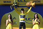 Race leader Geraint Thomas (WAL) Team Sky retains the Yellow Jersey at the end of Stage 14 of the 2018 Tour de France running 188km from Saint-Paul-Trois-Chateaux to Mende, France. 21st July 2018. <br /> Picture: ASO/Pauline Ballet | Cyclefile<br /> All photos usage must carry mandatory copyright credit (&copy; Cyclefile | ASO/Pauline Ballet)