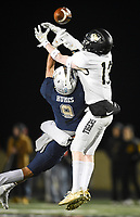 NWA Democrat-Gazette/CHARLIE KAIJO Bentonville Jonathon Anderson (13) breaks up a pass intended for Bentonville West cornerback Brandon Humes (9), Friday, November 8, 2019 during a football game at Bentonville West High School in Centerton.