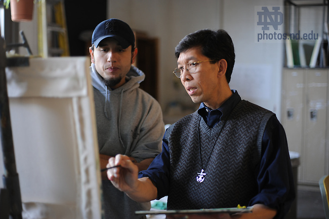 Rev. Martin Nguyen, C.S.C. teaches painting in Riley Hall of Art & Design.  For Notre Dame Magazine 'Coffee Conversations.'