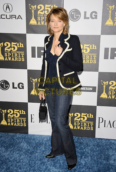 JODIE FOSTER .The 25th Annual Film Independent Spirit Awards at the LA Live Event Deck in Los Angeles, California, USA..March 5th, 2010  .full length blue jacket jeans denim hand  white trim  .CAP/ROT.©Lee Roth/Capital Pictures
