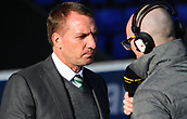 4th November 2017, McDiarmid Park, Perth, Scotland; Scottish Premiership football, St Johnstone versus Celtic;  Brendan Rodgers speaks to Chris McLaughlin of the BBC