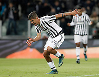 Calcio, Serie A: Juventus vs Milan. Torino, Juventus Stadium, 21 novembre 2015. <br /> Juventus&rsquo; Paulo Dybala celebrates after scoring the winning goal during the Italian Serie A football match between Juventus and AC Milan at Turin's Juventus stadium, 21 November 2015. Juventus won 1-0.<br /> UPDATE IMAGES PRESS/Isabella Bonotto