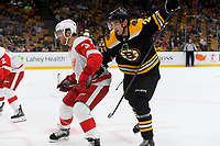 September 26, 2018: Detroit Red Wings defenseman Nick Jensen (3) shields Boston Bruins center Jakob Forsbacka Karlsson (23) during the NHL pre-season game between the Detroit Red Wings and the Boston Bruins held at TD Garden, in Boston, Mass. Detroit defeats Boston 3-2 in overtime. Eric Canha/CSM