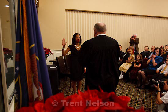 Trent Nelson     The Salt Lake Tribune.Mia B. Love was sworn in as the new Mayor of Saratoga Springs, Friday, January 8, 2010 at the TalonsCove Country Club.