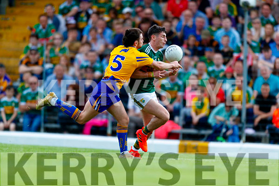 Paul Geaney Kerry in action against Cian O'Dea Clare during the Munster GAA Football Senior Championship semi-final match between Kerry and Clare at Fitzgerald Stadium in Killarney on Sunday.