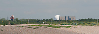 "Looking towards Thorpeness and seeing Sizewell ""A"" (the block) and ""B"" (the sphere) Nuclear Power Station, Suffolk coast, UK."