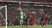 Manchester City's Ederson just fails to get his fingers to a corner ball<br /> <br /> Photographer Rich Linley/CameraSport<br /> <br /> The Premier League - Liverpool v Manchester City - Sunday 7th October 2018 - Anfield - Liverpool<br /> <br /> World Copyright &copy; 2018 CameraSport. All rights reserved. 43 Linden Ave. Countesthorpe. Leicester. England. LE8 5PG - Tel: +44 (0) 116 277 4147 - admin@camerasport.com - www.camerasport.com