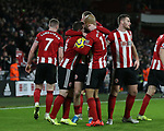 Oli McBurnie of Sheffield Utd celebrates scoring a goal with David McGoldrick of Sheffield Utd and John Fleck of Sheffield Utd during the Premier League match at Bramall Lane, Sheffield. Picture date: 10th January 2020. Picture credit should read: Chloe Hudson/Sportimage