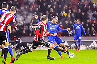 Cardiff City's forward Kenneth Zohore (10)  strikes on goal during the Sky Bet Championship match between Sheff United and Cardiff City at Bramall Lane, Sheffield, England on 2 April 2018. Photo by Stephen Buckley / PRiME Media Images.