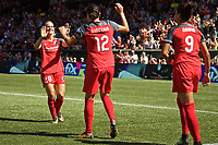 Portland, OR - Saturday September 02, 2017: Amandine Henry, Christine Sinclair, Nadia Nadim during a regular season National Women's Soccer League (NWSL) match between the Portland Thorns FC and the Washington Spirit at Providence Park.