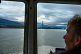 CANADA, Vancouver, British Columbia, heading towards the Lion's Gate Bridge on the Organic Ocean Shrimp boat