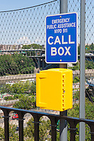 An emergency call box on the High Bridge over the Harlem River in New York City.