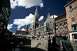 View of the new town hall or neues rathaus with Marienplatz subway ubahn station in Munich, Germany, August 03, 2008. (ALTERPHOTOS/Alvaro Hernandez)