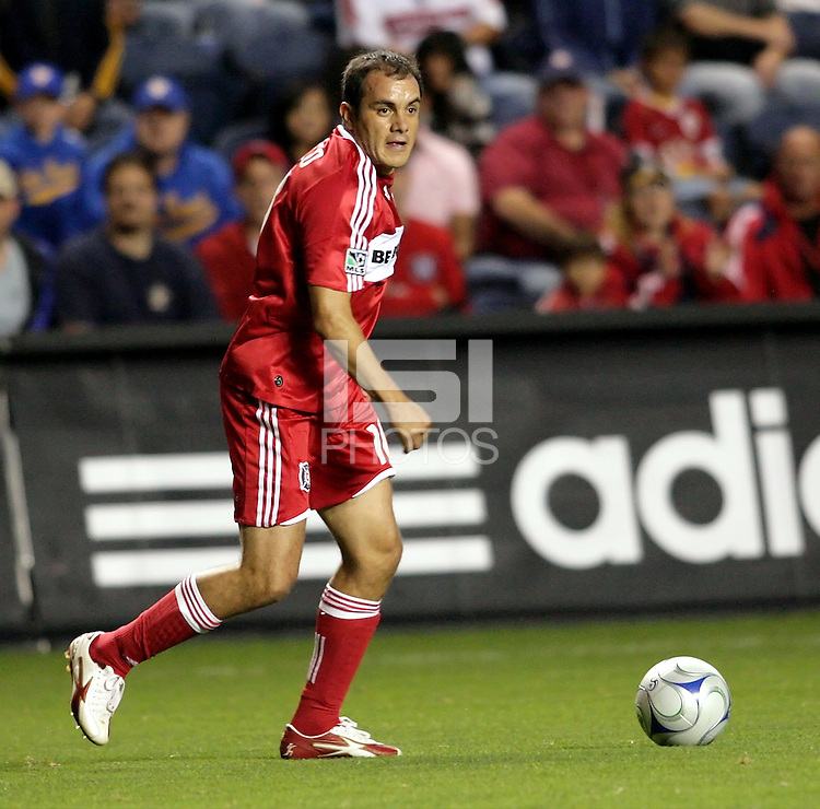 Chicago midfielder Cuauhtemoc Blanco (10) looks for somebody to pass to.  The Chicago Fire defeated the San Jose Earthquakes 2-0 at Toyota Park in Bridgeview, IL on July 18, 2009.