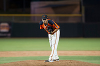 AZL Giants relief pitcher Olbis Parra (72) looks to his catcher for the sign during Game Three of the Arizona League Championship Series against the AZL Cubs on September 7, 2017 at Scottsdale Stadium in Scottsdale, Arizona. AZL Cubs defeated the AZL Giants 13-3 to win the series two games to one. (Zachary Lucy/Four Seam Images)