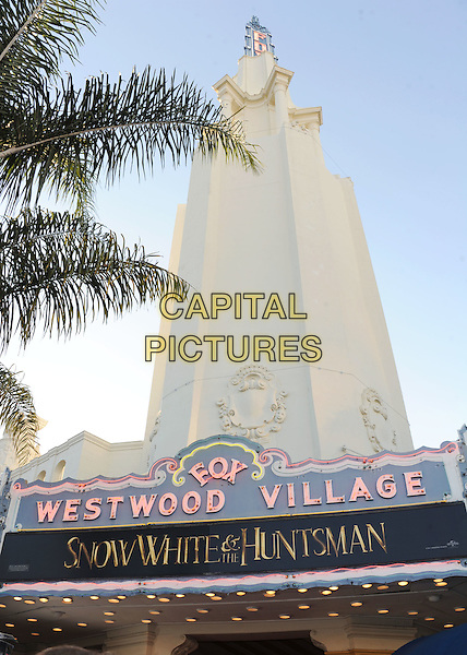 "Westwood Village Theatre.The Los Angeles Screening of ""Snow White And The Huntsman"" at Westwood Village Theatre in Westwood, California, USA..May 29th, 2012 .gv general view building .CAP/ROT/TM.©Tony Michaels/Roth Stock/Capital Pictures"