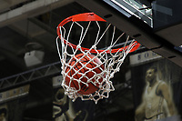 WINSTON-SALEM, NC - FEBRUARY 06: A Wake Forest basketball falls through the net during a game between Notre Dame and Wake Forest at Lawrence Joel Veterans Memorial Coliseum on February 06, 2020 in Winston-Salem, North Carolina.
